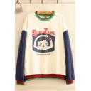 Chinese Letter Cartoon Girl Graphic Contrasted Long Sleeve Crew-neck Loose-fit Trendy Pullover Sweatshirt in Beige