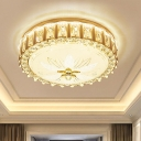 Crystal Rose Gold Ceiling Flushmount Lamp Drum Minimalist LED Flush Mount Fixture with Flower Pattern