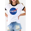 Leisure Womens Letter Nasa Print Short Sleeve Crew Neck Relaxed Fit Ringer T-shirt in White