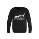 Popular Mens Character Basketball Pattern Pullover Letter Evolution Long Sleeve Round Neck Regular Fitted Graphic Sweatshirt