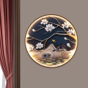 Blossom/Branch Painting Metal Mural Lamp Asia Black LED Wall Sconce Light Fixture for Bedroom
