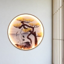 Pine Tree/Stone Stairway LED Flush Mount Metal Chinese Wall Mount Mural Lamp with Black Round Frame
