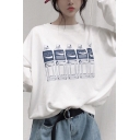 Fashionable Bottle Print Long Sleeve Crew Neck Loose-fit T-shirt in White