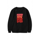 Cozy Mens Letter Happy New Year 2020 Printed Pullover Long Sleeve Round Neck Regular Fit Sweatshirt
