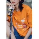 Fashionable Girls Cartoon Figure Graphic Short Sleeve Crew Neck Relaxed T-shirt