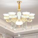 Flower Living Room Pendant Light Kit Frosted White Glass 6-Head Post Modern Ceiling Chandelier in Gold
