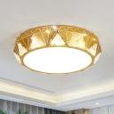 Iron Gold Finish Ceiling Flush Diamond-Cut Postmodern LED Flush Mount Lighting with Embedded Crystal