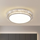 Minimal Circular Ceiling Flushmount Lamp Clear Beveled Crystal Embedded LED Flush Mounted Light