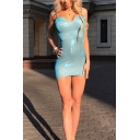 Party Ladies Glitter Spaghetti Straps Backless Plain Short Tight Cami Dress in Light Blue