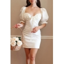Vintage Girls White Puff Sleeve Sweetheart Neck Bow Tied Mini Tight Dress