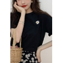Single Daisy Floral Embroidered Short Sleeve Crew Neck Relaxed Fancy T-shirt for Ladies