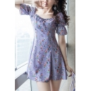 Pretty Girls Ditsy Floral Printed Puff Sleeve Square Neck Bow Tied Short A-line Dress in Purple