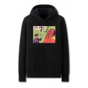 Chic Mens Figure Letter Mail Satan Pattern Cuffed Drawstring Long Sleeve Regular Fit Graphic Hooded Sweatshirt with Kangaroo Pocket
