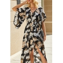 Leisure Womens Allover Floral Printed Batwing Sleeve V-neck Button up Bow Tied Waist Mid Wrap Dress