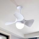 Hemisphere Acrylic LED Fan Lamp Nordic 3-Blade White Semi Flush Ceiling Light, 23