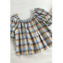 Creative Womens Plaid Pleated Tied Detail Square Neck Short Puff Sleeve Loose Fit Smock Top