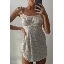 Pretty Ditsy Floral Printed Bow Tied Shoulder Ruched Stringy Selvedge Mini A-line Cami Dress in White
