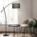 Drum Swivel Shade Standing Floor Light Modern Fabric 1-Light Black/Black-White/Gold Floor Lamp with Crossed Arm
