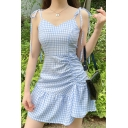 Chic Womens Checkered Print Bow Tied Shoulder Ruched Ruffled Irregular Hem Short A-line Slip Dress in Blue