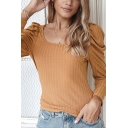 Elegant Ladies Solid Color Puff Long Sleeve Square Neck Knitted Regular Fit T-shirt