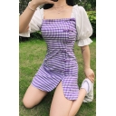 Lovely Womens Puff Sleeve Square Neck Plaid Print Patchwork Frog Button down Slit Mini A-line Dress