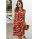 Gorgeous Womens Allover Flower Print Sleeveless Ruffled Trim Round Neck Mid Pleated A-line Dress in Red