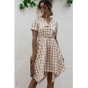 Novelty Womens Plaid Printed Short Sleeve V-neck Drawstring Waist Irregular Hem Midi Pleated A-line Dress