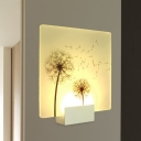 Acrylic Dandelion Mural Light Fixture Contemporary White Square LED Wall Mount Lamp