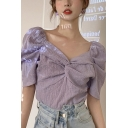 Gorgeous Ladies Solid Color Puff Sleeve Sweetheart Neck Twist Front Regular Fit Blouse Top in Purple