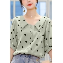 Allover Heart Print Short Sleeve Point Collar Button down Pretty Loose Blouse Top for Ladies