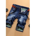 Blue Retro Mens Patterned Patchwork Ripped Zip Fly Longline Regular Fit Denim Shorts with Washing Effect