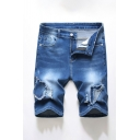Mens Blue Stylish Reworked Zip-fly Pockets Distressed Longline Regular Fit Denim Shorts with Washing Effect