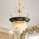 Ceramics Green Finish Pendulum Light Round 3 Heads Traditional Chandelier with Crystal Rectangle Detail