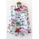 Streetwear Girls All over Letter Print Long Sleeve Turn down Collar Button down Curved Hem Oversize Shirt