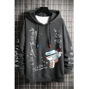Dressy Letter Water Gun Letter God Red Printed Drawstring Long Sleeve Relaxed Fitted Graphic Hoodie for Men