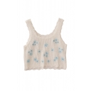 Popular Womens Floral Embroidery Printed Cut Out Lace Trim Scoop Neck Sleeveless Regular Fit Crop Tank Top in White