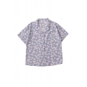 Fashion Ladies Ditsy Floral Printed Button Up Lapel Collar Short Sleeve Loose Fit Tunic Shirt in Blue