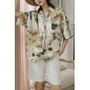Cool Girls Oil Painting Print Pocket Button Down Collar Short Sleeve Relaxed Fit Shirt in Grey