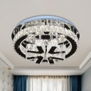 Faceted Crystal Block Round Semi Flush Modernist LED Stainless-Steel Ceiling Mounted Light