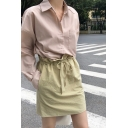 Simple Pink Long Sleeve Spread Collar Button down Chest Pocket Tunic Relaxed Shirt Top for Women