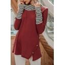Stylish Womens Waffle Knit Stripe Print Panel Long Sleeve Cowl Neck Button Side Loose T Shirt