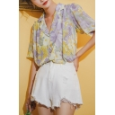 Vintage Girls Floral Printed Button Down Pleated Lapel Collar Short Sleeve Relaxed Fit Shirt in Yellow