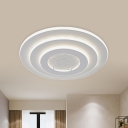 Metal 3-Tier Round Ceiling Flush Modern White LED Flush Mounted Light for Bedroom