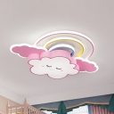 Acrylic Cloud and Rainbow Flush Light Fixture Cartoon LED Flushmount Lamp in White/Pink
