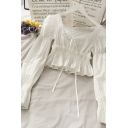 Trendy Solid Color Tie Pleated Ruffle Cuff Lace Trim V Neck Long Puff Sleeve Slim Fit Crop Blouse for Girls