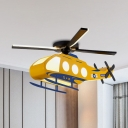 Helicopter Metallic Semi Mount Lighting Cartoon LED Yellow Flush Ceiling Lamp Fixture
