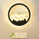 Mountain Layers Mural Lamp Nordic Acrylic Living Room LED Wall Mounted Lighting in Black