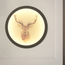 Elk Sketch Living Room Mural Light Acrylic Decorative LED Wall Mount Lighting Fixture with Black/White Hoop