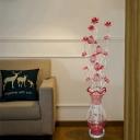 Art Deco Lotus and Vase Standing Floor Light Aluminum Wire LED Floor Lamp in Red