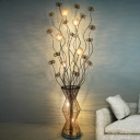 Gold Dandelion and Vase Stand Up Lamp Art Deco Aluminum Wire Drawing Room LED Floor Lighting